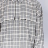 Stampd linen pocket plaid shirt grey