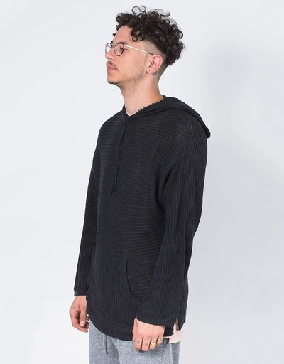Stampd stripe knit poncho sweater black