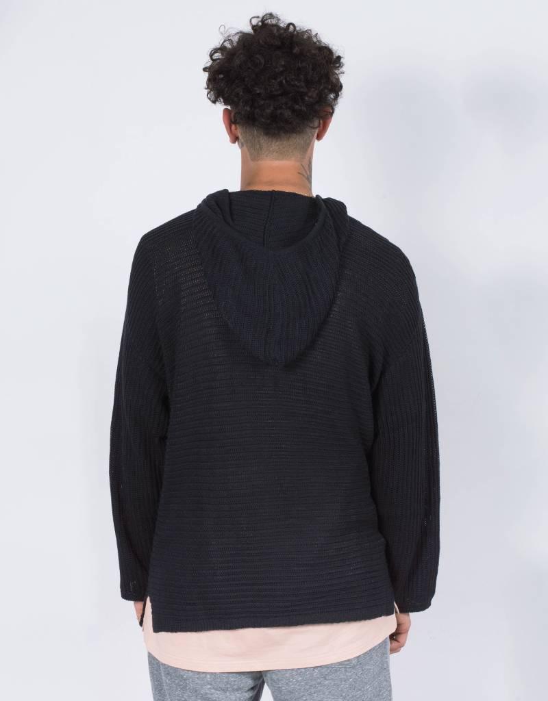 Stampd stripe knit poncho sweater black