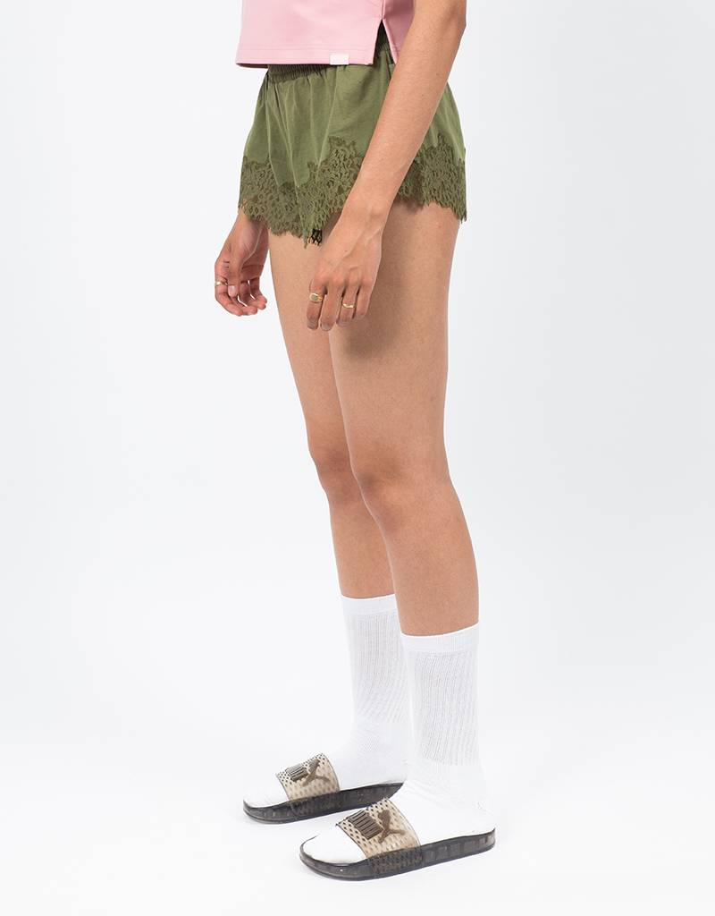 Puma Fenty Lace Trim Sleepwear Short Olive Branch