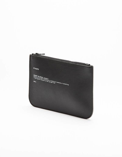 Stampd calfskin bank pouch black