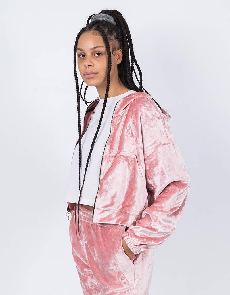 NikeLab Ess Velour Fz Hoodie Rust Pink