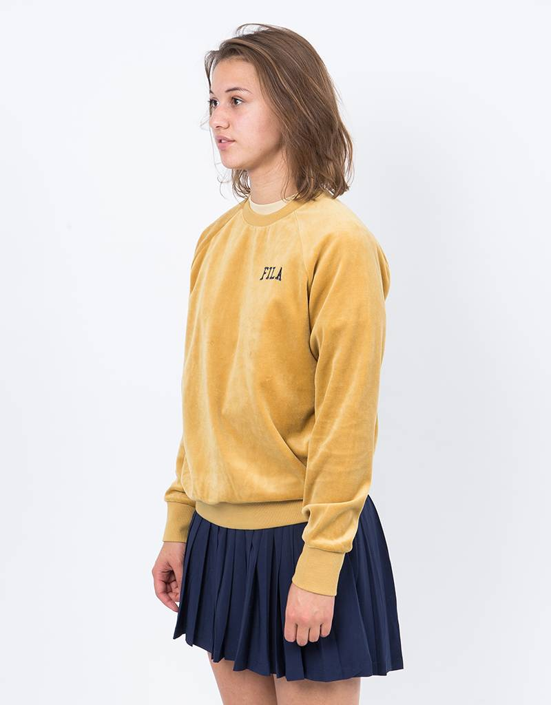 fila yellow shirt. fila la sweat shirt velour mustard yellow
