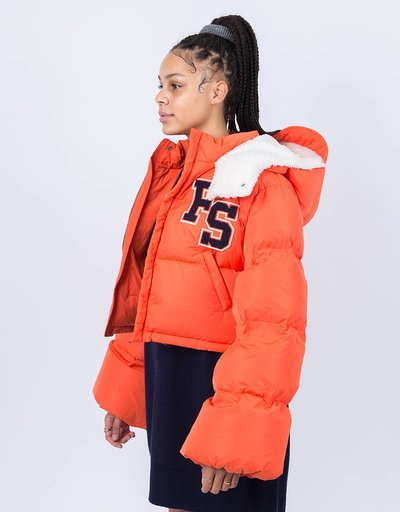 Puma Fenty Cropped Hooded Puffer Coat Flame