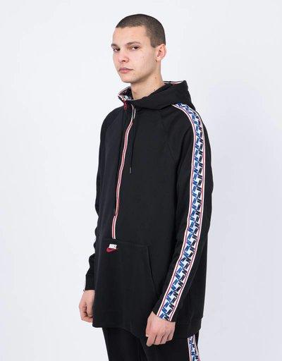Nike taped half zip hood poly black/gym red/sail