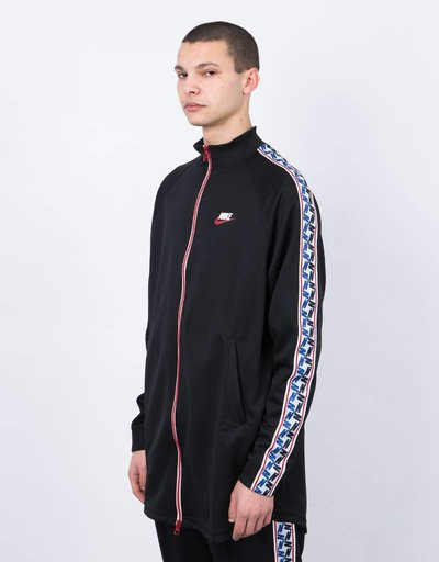 Nike taped track jkt poly black/gym red/sail
