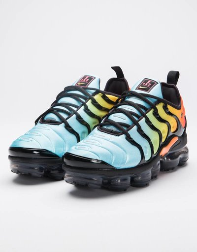 Nike women's  air vapormax plus black/black-bleached aqua-vivid sulfur
