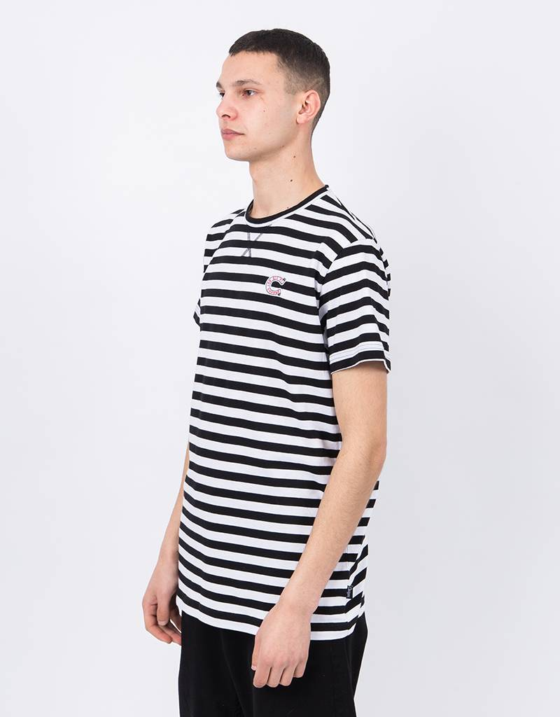 Ceizer C Embroidery Striped T-shirt Black