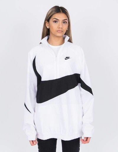 Nike swoosh woven halfzip jacket White/black/black