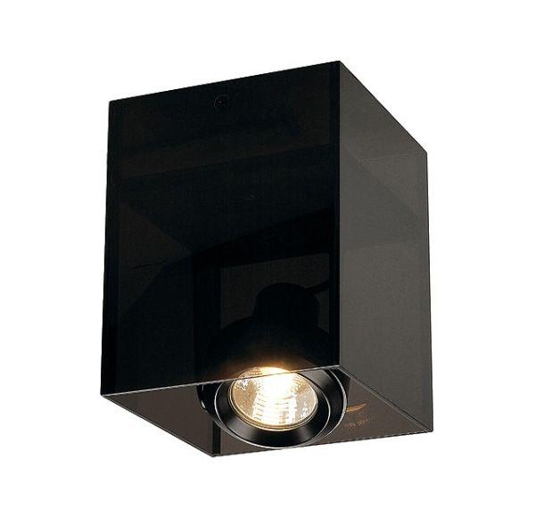 ACRYLBOX SINGLE GU10, plafond armatuur, vierkant, zwart/translucent, max. 50W