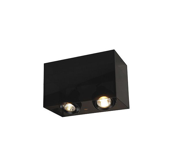 ACRYLBOX DOUBLE GU10, plafond armatuur, rechthoekig, zwart/translucent, max. 2x 50W