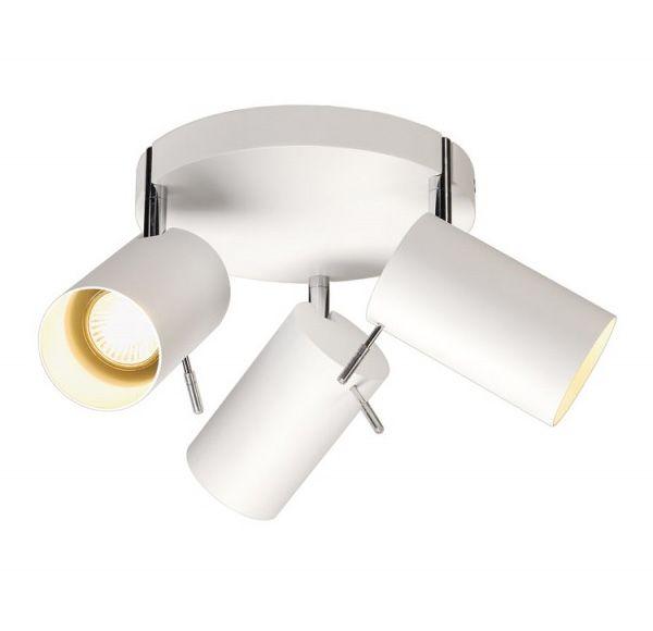ASTO TUBE 3 ROND, muur en plafond, rond rozet, wit, 3xGU10, max. 75W