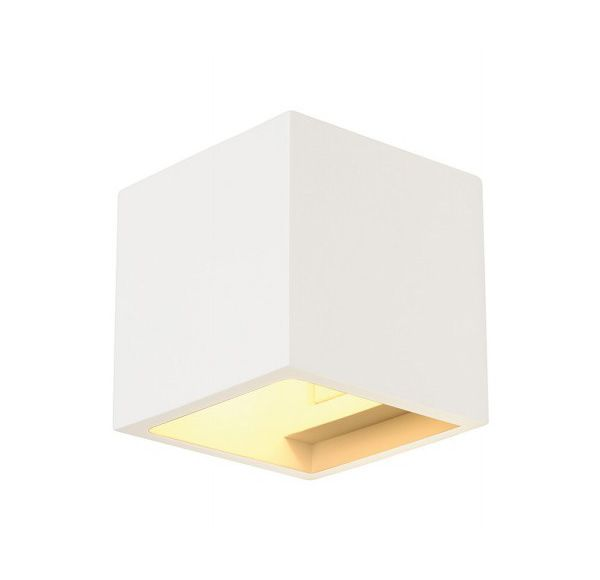PLASTRA CUBE wandlamp, vierkant, wit gips, G9, max. 42W
