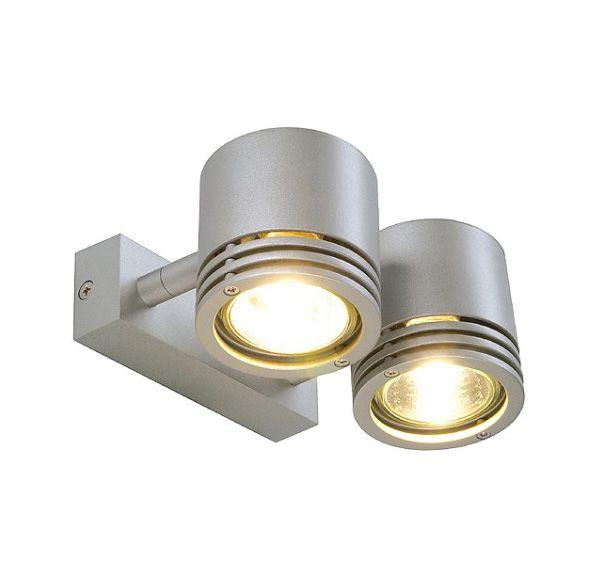 BARRO 2, rond, zilvergrijs, 2x GU10, max. 50W