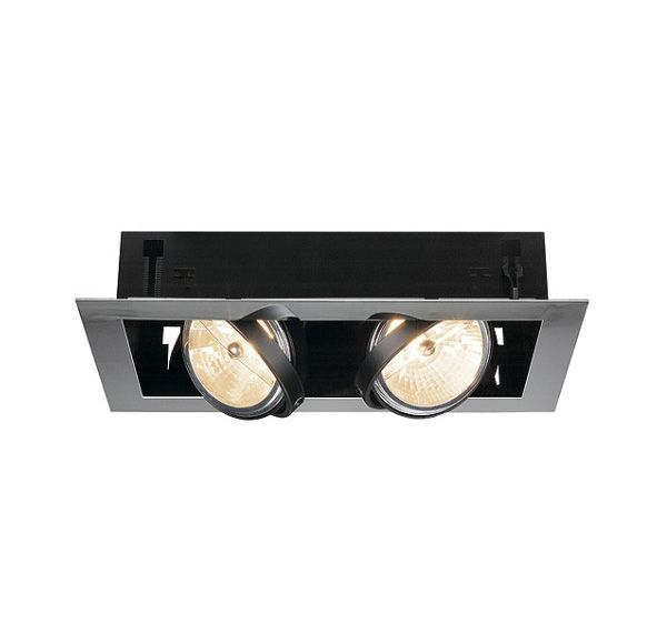 AIXLIGHT FLAT DOUBLE QRB111, inbouw armatuur, chroom / mat zwart, max. 50W