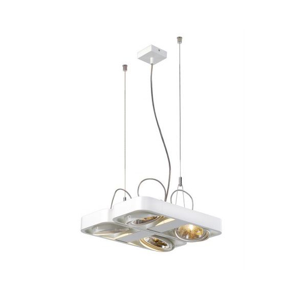 AIXLIGHT R2 SQUARE QRB111, pendel lamp, half rond, wit, 4xG53, max. 4x50W