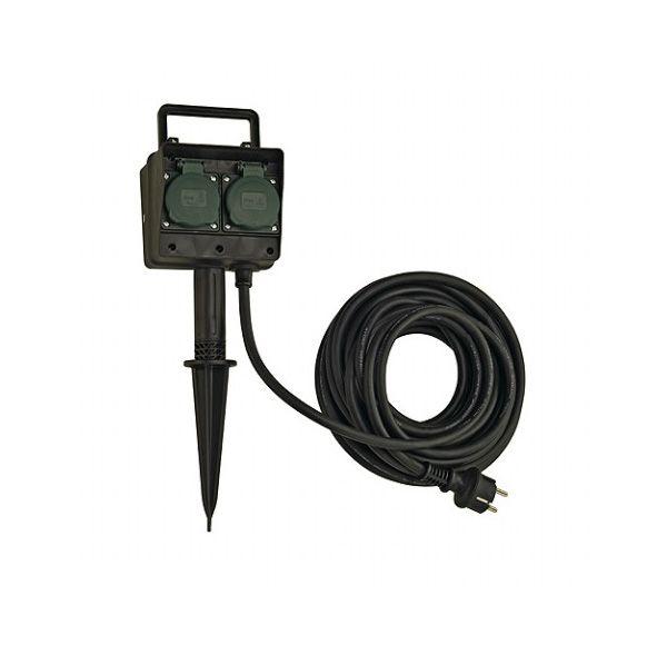4-WEGS TUINCONTACTDOOS, IP44 met 10m kabel