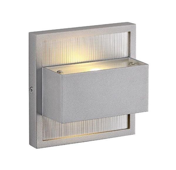 DACU UP-DOWN LED, wand armatuur, vierkant, zilvergrijs, 2x 1W, 2700K,