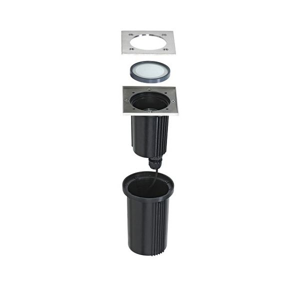 DASAR EXACT GU10, inbouw grond lamp, vierkant, inox 316, max. 35W, IP67