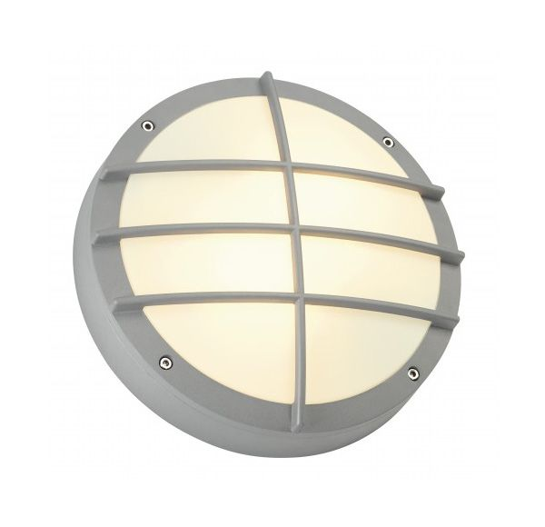 BULAN GRID, wand armatuur, rond, zilvergrijs, E27, max. 2x 25W, PC cover