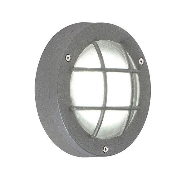 DELSIN LED, steengrijs, wit, gesatineerd glas, IP44
