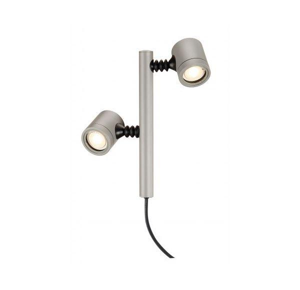 NEW MYRA 2 lampekop, zilvergrijs, GU10, max. 2x 4W, IP44