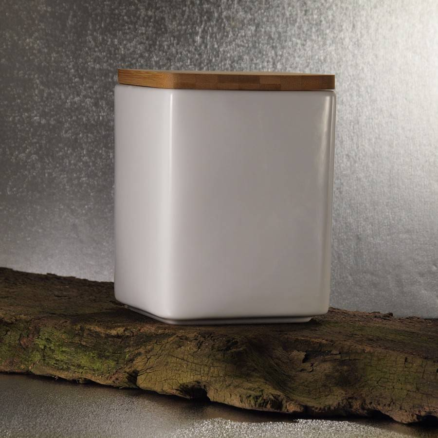 Große Keramikdose mit Holzdeckel