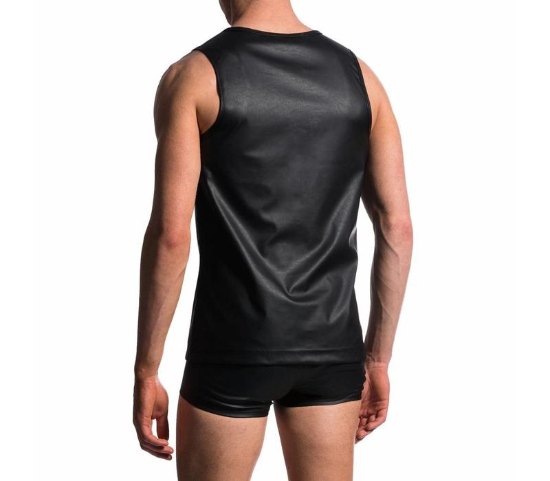 Slim Tank Leather-Look <zwart>