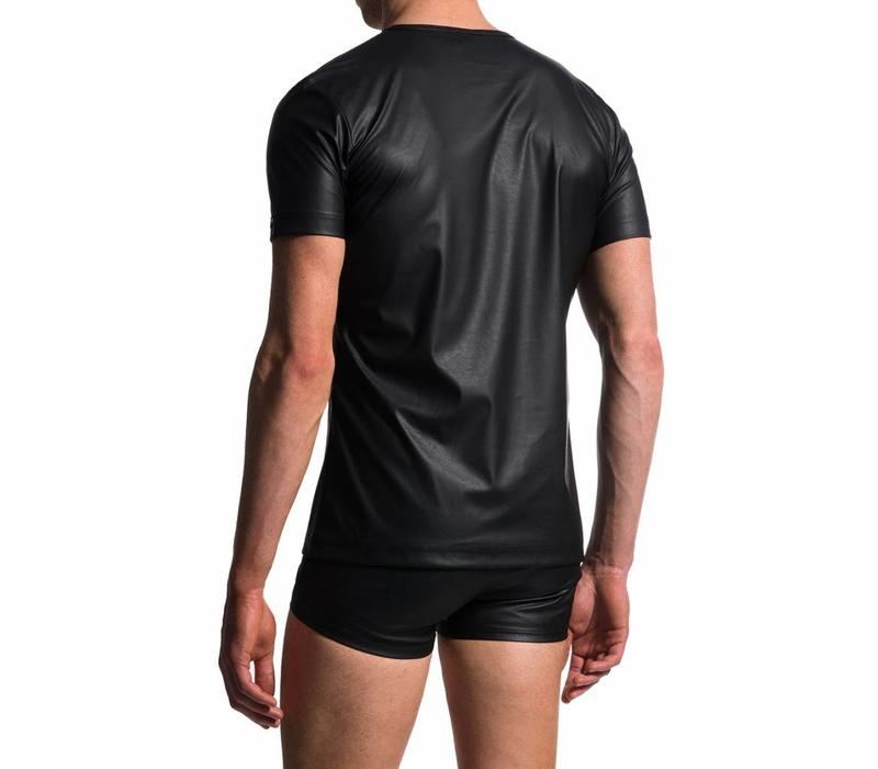 V-shirt Leder-Look <zwart>