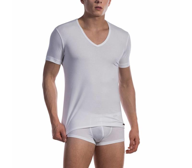 Shirt met diepe V-hals katoen classic <wit>
