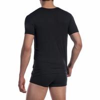 Shirt met diepe V-hals katoen classic <zwart>