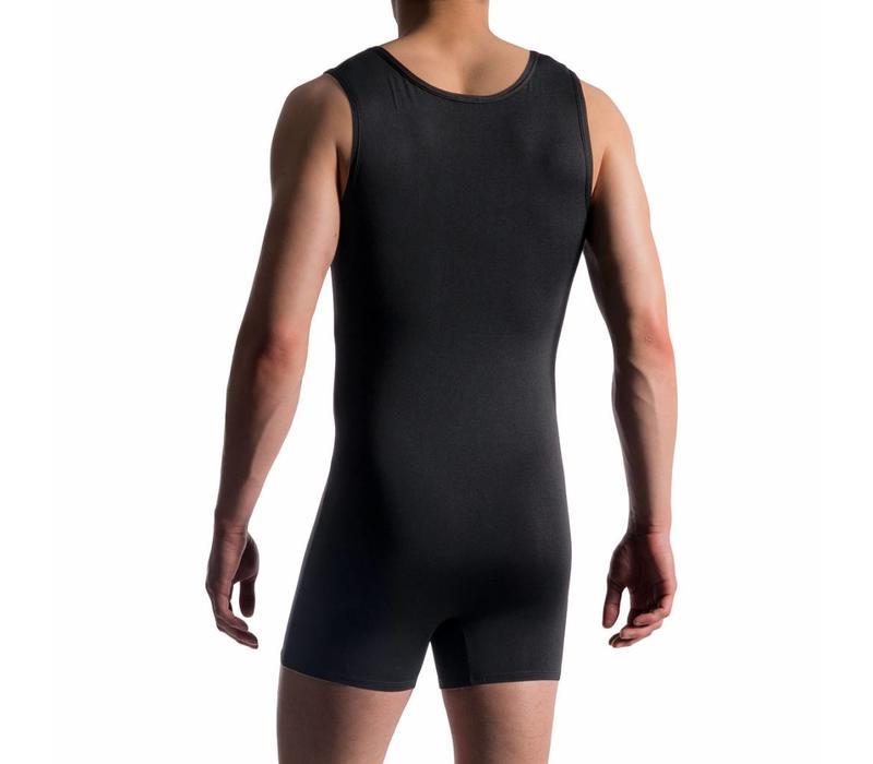 Sportbody met dubbele rits <zwart >