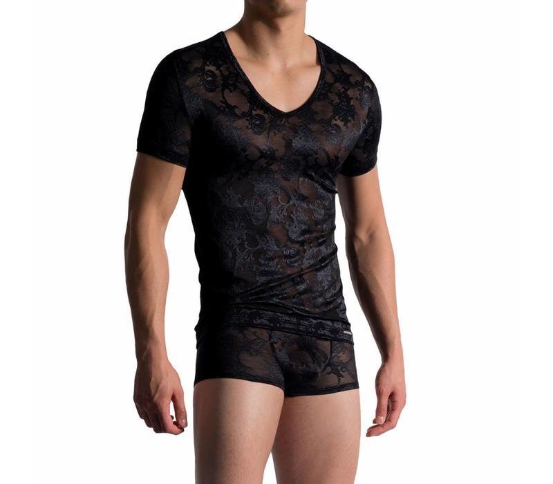 V-shirt in Frans kant <zwart>