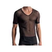 Doorzichtig shirt met diepe V hals <zwart>