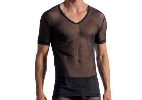 Olaf Benz  Doorzichtig shirt met diepe V hals <zwart> - Olaf Benz 1762