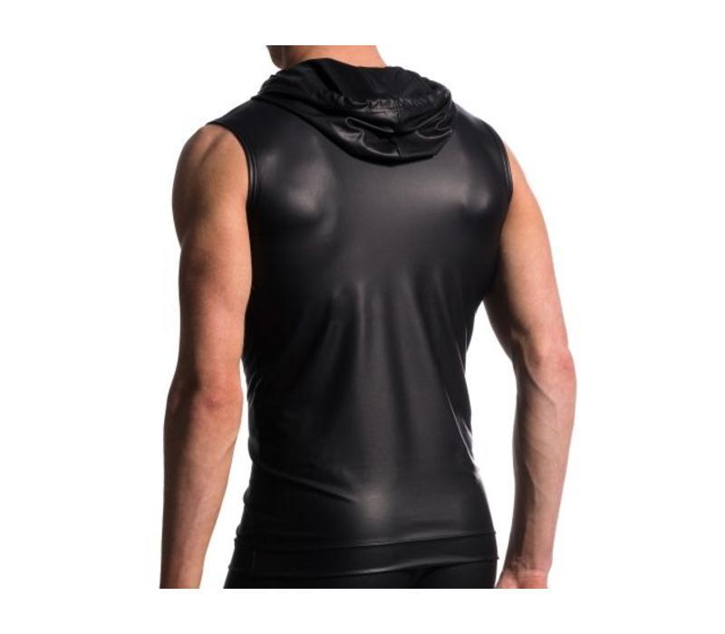 Hoody Tank Soft Leder-Look <zwart>