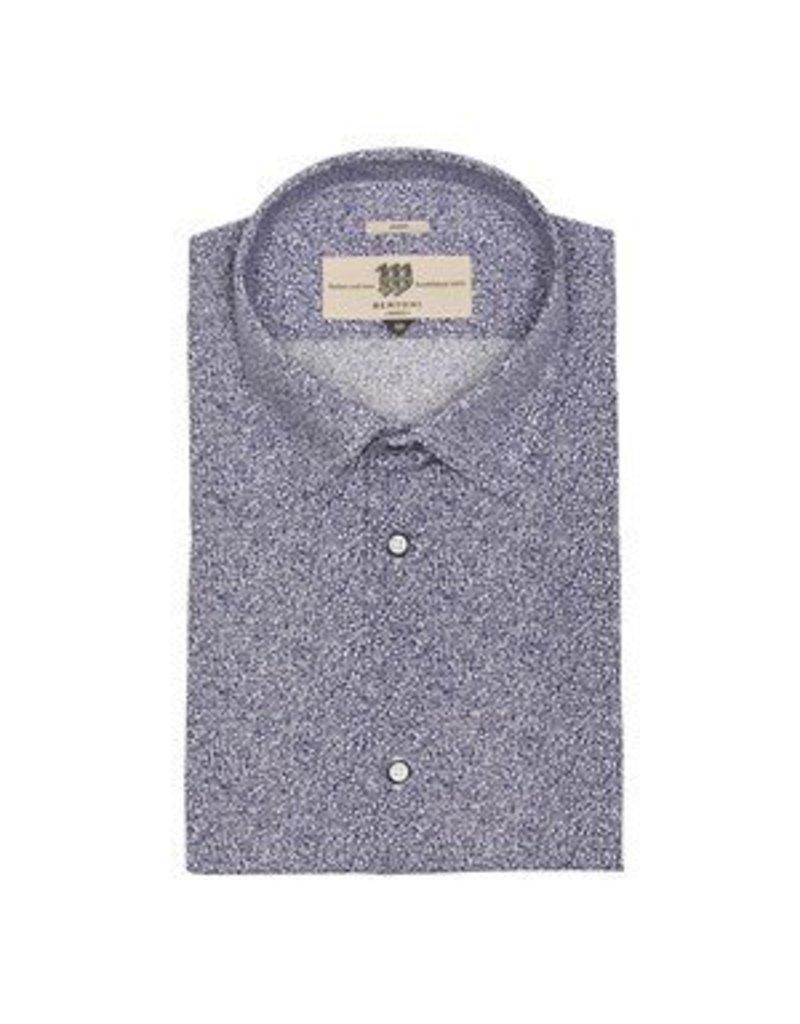 Bertoni Navy print shirt