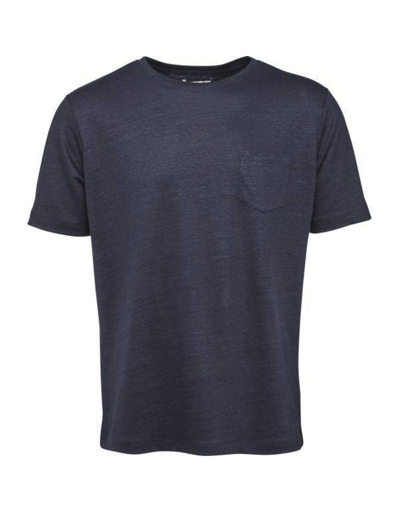 Knowledge Cotton Knowledge Cotton  Navy Linen T Shirt