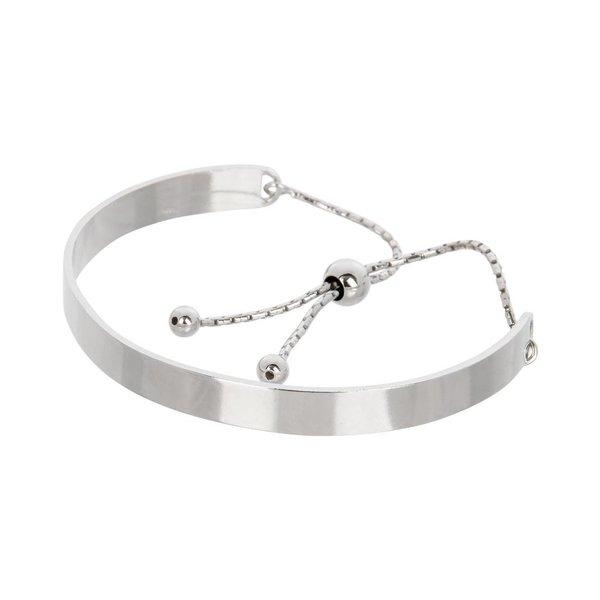 Zilveren klemarmband - slavenband met aantrekkoord