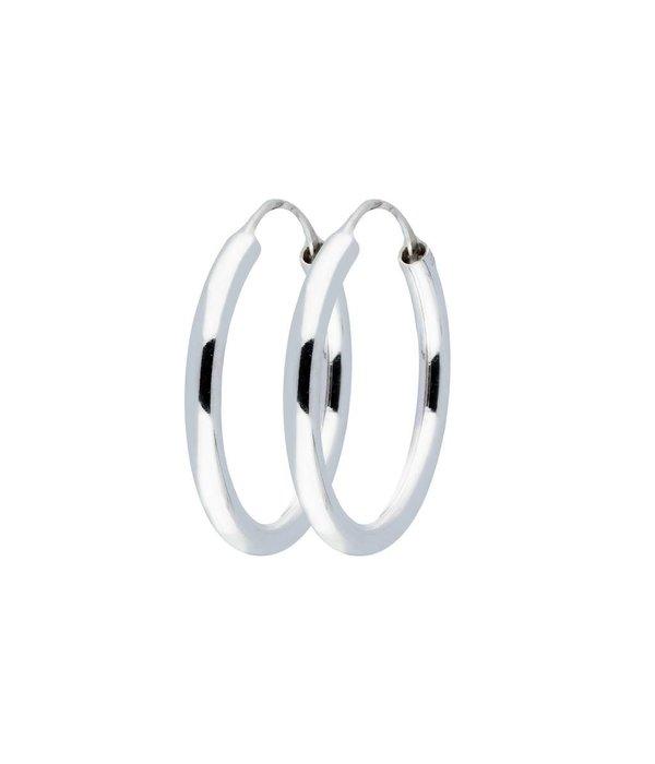 Best basics Zilveren draadcreolen - 3 mm - Ronde buis