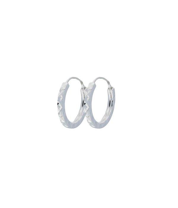 Best basics Zilveren draadcreolen - bewerkt 12 mm -
