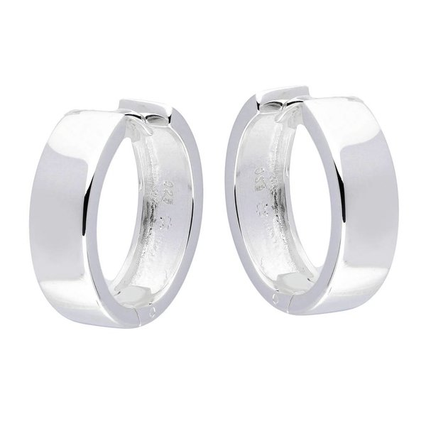 Zilveren klapcreolen - vierkante buis 6 mm