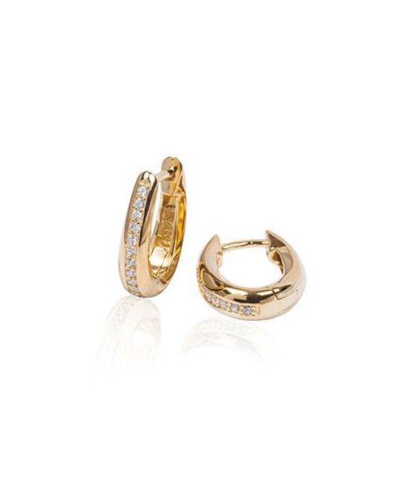 Best basics Zilveren klapcreolen - gold-plated - ovaal - Zirkonia - ronde buis