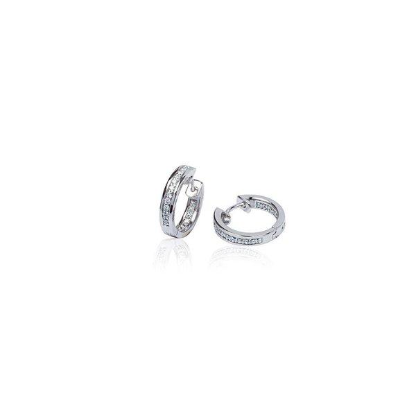 Zilveren klapcreolen - zirkonia - 1 x 15.5 mm