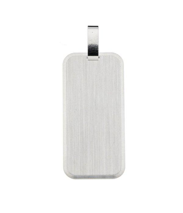 Best basics Zilveren graveerplaatje - 14 mm - rechthoek -