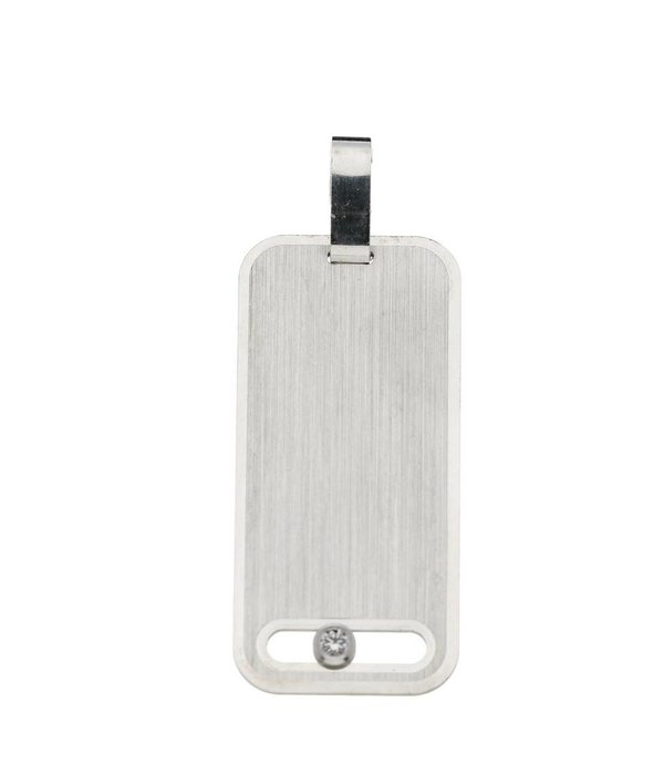 Best basics Zilveren graveerplaatje - 14 mm - rechthoek - Met zirkonia