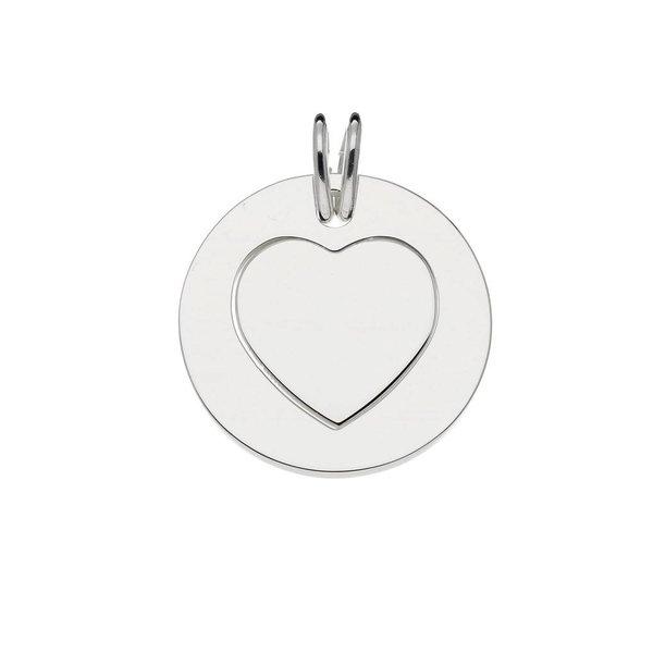 Zilveren graveerplaatje - 20 mm - hart - 2 in 1