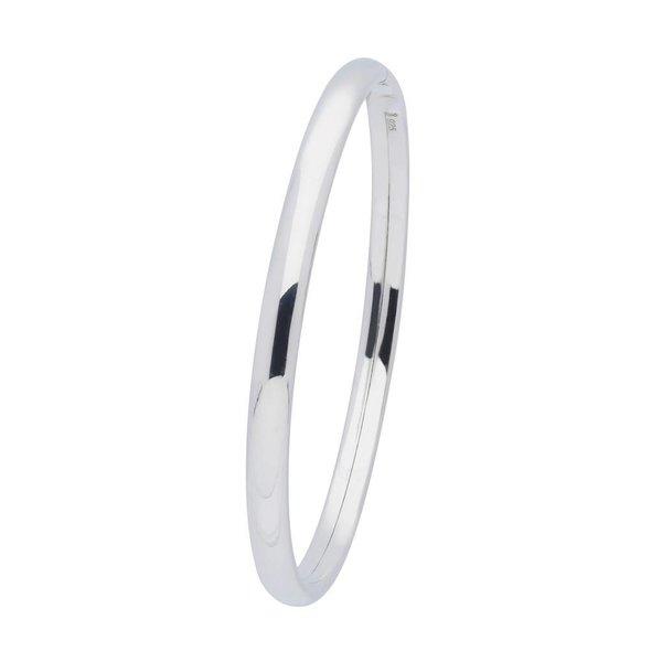Zilveren holle slavenband dop - ovaal 5 mm - 60 mm