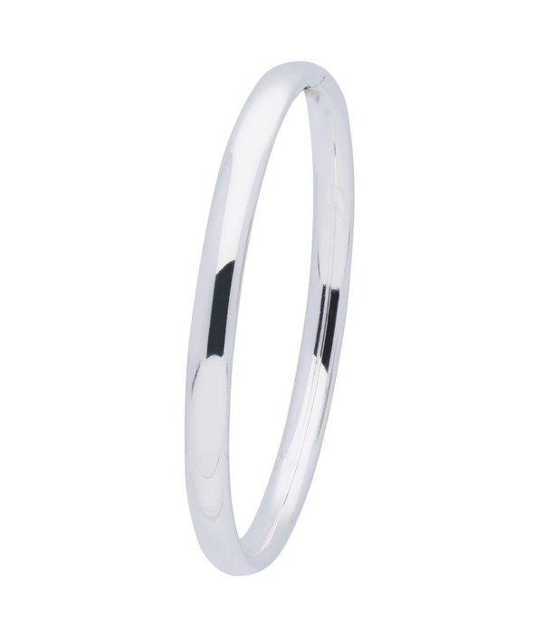 Best basics Zilveren holle slavenband dop - ovaal 6 mm - 60 mm -