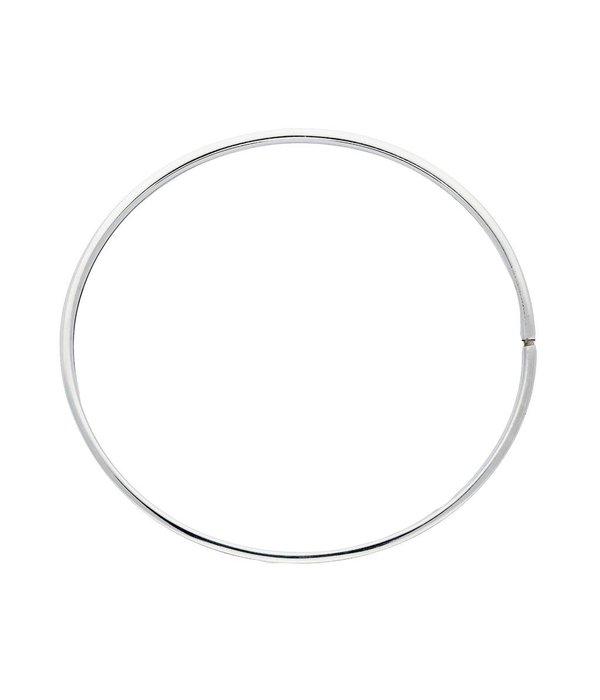 Best basics Zilveren holle slavenband dop - vierkant - 4 mm - 60 mm